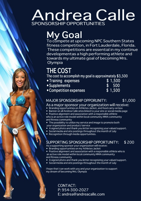 page 2 sponsorship package, andrea calle, social media, fitness