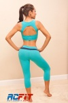 aqua, blue set back, active wear